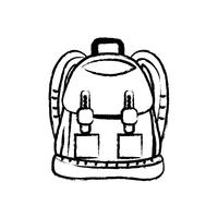 figura zaino con tasche e design di chiusure