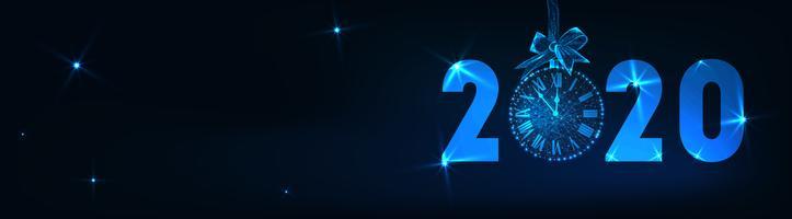 Felice anno nuovo banner con testo futuristico incandescente low poly 2020, conto alla rovescia orologio, fiocco regalo, stelle.