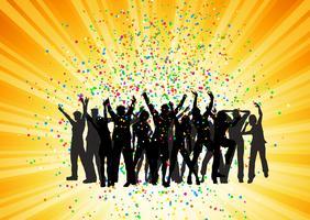 Folla di partito su sfondo starburst