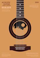 Illustrazione di vettore del modello del fondo del manifesto di concerto di chitarra