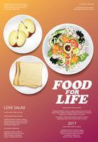 Illustrazione di verdure di vettore di progettazione del manifesto dell'alimento dell'insalata