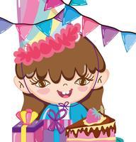 Cartoni animati di festa di compleanno di ragazza