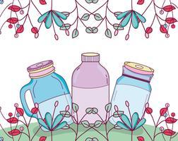 Barattolo di vetro con fiori vettore