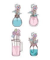 Set di cartoni animati di fiori vettore