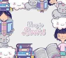 Cartoni animati di libri magici vettore