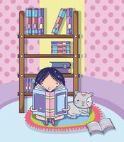 Ragazza con cartoni animati di libri vettore