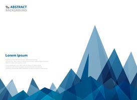 Modello astratto triangolo blu geometrico di forma di montagna. vettore