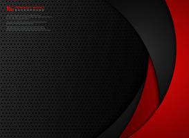 Fondo astratto dell'acciaio della geometria del modello rosso e nero di pendenza di tecnologia. illustrazione vettoriale eps10
