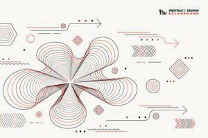Le linee astratte elementi geometrici di vettore progettano la decorazione di colore nero e rossa. illustrazione vettoriale eps10