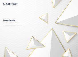 Modello di poligono astratto triangolo bianco sfumato con sfondo cornice dorata. vettore