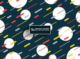 La banda variopinta geometrica astratta del modello di colore di Memphis allinea la priorità bassa con la decorazione di bianco del cerchio. È possibile utilizzare per opere d'arte copertina, brochure, annunci, poster, relazione annuale.