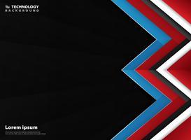 Estratto geometrico moderno di sfondo sfumato rosso bianco blu. È possibile utilizzare per la presentazione di tecnologia, annuncio, poster, web, copertina, relazione annuale. vettore