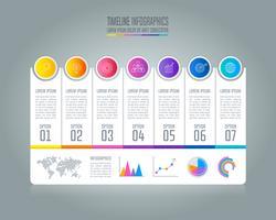 Concetto di business infografica Timeline con 7 opzioni.