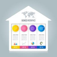 concetto di business design infografica con 4 opzioni.