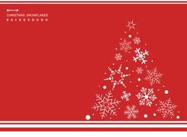 Estratto del fondo semplice di colore rosso di Natale con l'albero bianco dei fiocchi di neve.