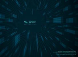 Fondo blu di prospettiva futuristica astratta di tecnologia geometrico. vettore