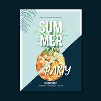Festa di design di poster di estate sulla natura di sole mare spiaggia. tempo di vacanza, progettazione creativa dell'illustrazione di vettore dell'acquerello