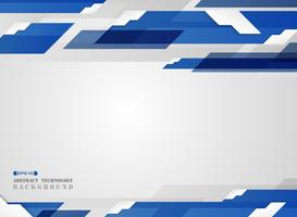 Estratto del modello di linea di striscia blu sfumato futuristico con sfondo ombra bordo bianco.