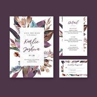 Matrimonio floreale della carta dell'invito del giardino della carta di nozze felice, dettaglio di rsvp. ornamento dell'annata della disposizione dello spazio bello, progettazione della raccolta del modello dell'illustrazione di vettore dell&#