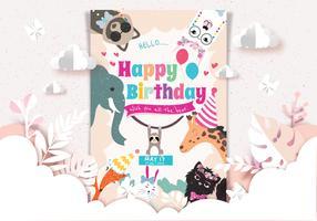 Vettore della carta degli animali di buon compleanno