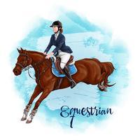 Donna a cavallo. Sport equestre.