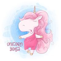 Divertente unicorno carino pratica yoga al mattino