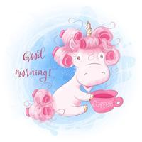Cute Cartoon Unicorn su una priorità bassa dell'acquerello