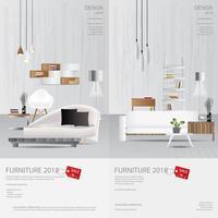 2 illustrazione verticale di vettore del modello di progettazione di vendita della mobilia dell'insegna