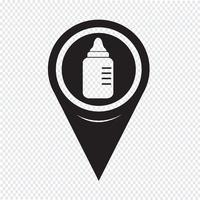 Icona di bottiglia di latte bambino puntatore mappa vettore