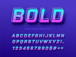 Vettore di alfabeto grassetto 3D moderno