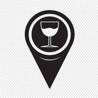 Icona puntatore di vetro di puntatore della mappa