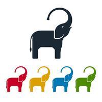 Icone piane di elefanti vettore
