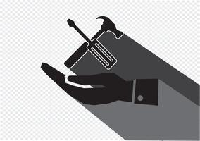 Icona del martello di mano e strumenti