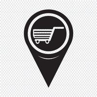 Icona del carrello del puntatore della mappa vettore