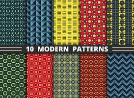 Modello astratto di stile moderno di sfondo geometrico colorato set. Decorare per confezionare, annuncio, poster, design di opere d'arte.