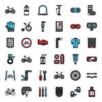 accessori per biciclette riempiono icona di contorno