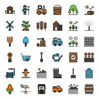 Icona di contorno riempito agricoltura vettore