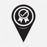Icona certificata del puntatore della mappa vettore