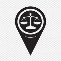 Puntatore della mappa icona della bilancia della giustizia vettore