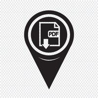 Icona PDF del puntatore della mappa vettore