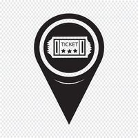 Icona del biglietto puntatore della mappa vettore