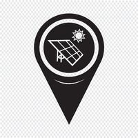 Mappa puntatore icona di energia solare