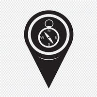 Icona della bussola del puntatore della mappa vettore