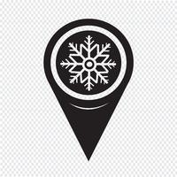 Icona mappa fiocco di neve puntatore