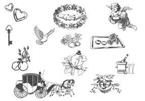 Insieme di vettore di elementi di matrimonio disegnato