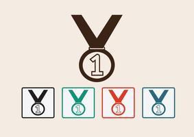 Set di icone di medaglia vettore