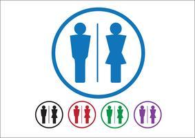 Pittogramma uomo donna segno icone, segno toilette o icona bagno