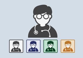 Medico con icona web stetoscopio