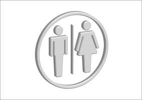 Icone del segno della donna dell'uomo del pittogramma 3D, segno della toilette o icona della toilette