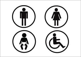 Simbolo del bagno Icona di disabilità uomo donna e bambino vettore